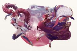 2girls alternate_costume alternate_hair_color alternate_hairstyle breasts elbow_gloves fingerless_gloves high_heels jinx_(league_of_legends) league_of_legends lipstick long_hair magical_girl multiple_girls red_hair sona_buvelle star_guardian_jinx thighhighs tied_hair twintails very_long_hair white_hair