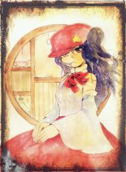 1girl detached_sleeves dolls_in_pseudo_paradise expressionless hat long_hair looking_at_viewer neck_ribbon purple_eyes purple_hair ribbon shiz_(#0077) side_ponytail skirt solo touhou traditional_media watercolor_(medium) window