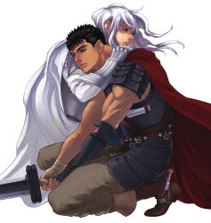 2boys armor bandage berserk black_hair blue_eyes boots breastplate brown_eyes cape faulds gauntlets griffith guts holding holding_sword holding_weapon hug knee_boots long_hair male_focus multiple_boys one_knee scar simple_background spaulders spurs sword weapon white_hair zonzgong