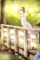 1girl ahoge blonde_hair bow bridge butterfly casual fate/stay_night fate_(series) flower green_eyes hair_bow highres hydrangea magicians_(zhkahogigzkh) nature outdoors plant saber sandals solo tree