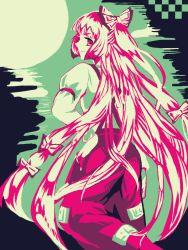 1girl bow fujiwara_no_mokou hair_bow hair_ribbon hand_on_hip long_hair looking_back moon night red_eyes ribbon smile solo suspenders touhou towako_(10wk0) white_hair