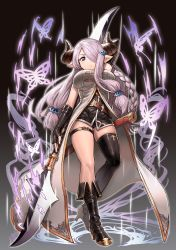 1girl arm_up asymmetrical_legwear belt belt_buckle black_background black_boots black_gloves black_panties blue_eyes boots breasts buckle butterfly closed_mouth coat double-blade elbow_gloves expressionless fingerless_gloves from_below full_body gloves granblue_fantasy hair_ornament hairclip highres holding holding_weapon horns knee_boots large_breasts long_hair low_twintails magic narumeia_(granblue_fantasy) omaru_gyuunyuu panties pantyshot pantyshot_(standing) pink_hair pointy_ears simple_background single_thigh_boot skindentation solo standing thigh_boots thigh_strap thighhighs twintails underwear very_long_hair weapon white_coat