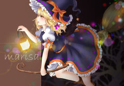 1girl blonde_hair blurry boots braid broom broom_riding character_name depth_of_field folded_leg frilled_skirt frills hair_ribbon hat hat_ribbon highres hoshiringo0902 kirisame_marisa lantern light_particles long_hair looking_at_viewer open_mouth profile puffy_short_sleeves puffy_sleeves red_eyes ribbon ribbon-trimmed_sleeves ribbon_trim sash short_sleeves side_glance single_braid skirt skirt_set solo touhou tree tress_ribbon two-tone_background witch_hat