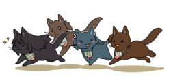 >_< :3 akagi_(kantai_collection) animalization atomaru blush_stickers cat fang flight_deck hiryuu_(kantai_collection) kaga_(kantai_collection) kantai_collection no_humans side_ponytail souryuu_(kantai_collection) sparkle twintails whiskers white_background