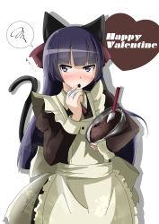 1girl absurdres animal_ears apron bandage black_hair blush bowl cat cat_ears chocolate gokou_ruri highres long_hair maid ore_no_imouto_ga_konna_ni_kawaii_wake_ga_nai purple_eyes rasis_kobato spatula valentine