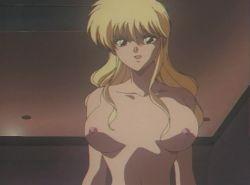 2girls 90s animated animated_gif blonde_hair breasts brown_hair futa_with_female futanari large_breasts long_hair lying midorizawa_saki multiple_girls nipples nude parade_parade penis pubic_hair shina_kaori uncensored