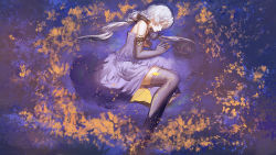 1girl bangs blackrabbitsoul blue_dress blue_gloves blue_hair blue_legwear dress fetal_position fingerless_gloves from_above gloves hair_ribbon half-closed_eyes highres long_hair lying on_side parted_lips partially_submerged profile reflection ribbon silver_hair sleeveless solo star star_(sky) thighhighs twintails very_long_hair vocaloid vocanese wallpaper water xingchen yellow_eyes
