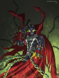 cape chains glowing glowing_eyes green_eyes gun handgun magic mask pistol skull spawn spawn_(spawn) spikes superhero teeth weapon