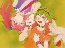 1boy 1girl blue_eyes bracelet choker goggles goggles_on_head green_hair hand_holding hiiragi_yuzu jacket_on_shoulders jean1620y jewelry lying multicolored_hair one_eye_closed open_mouth pendant pendulum pink_hair red_eyes red_hair sakaki_yuuya short_twintails smile twintails two-tone_hair wristband yu-gi-oh! yuu-gi-ou_arc-v