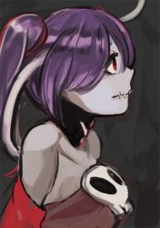 1girl blue_hair detached_collar detached_sleeves from_side hair_over_one_eye red_eyes side_ponytail skull skullgirls solo squigly_(skullgirls) stitched_mouth toi_(toiot) upper_body zombie