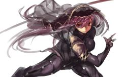 1girl azuki_(azuki-taste) bodysuit breasts fate/grand_order fate_(series) gae_bolg highres holding holding_weapon purple_hair red_eyes scathach_(fate/grand_order) simple_background solo veil weapon white_background