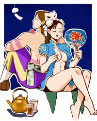 1boy 1girl back-to-back balrog barefoot braid breasts brown_hair chun-li cup double_bun earrings eyes_closed fan food fruit hieeru_ponpon jewelry kettle long_hair mask mask_removed navel open_clothes open_mouth open_shirt panties paper_fan shirt shirtless single_braid street_fighter street_fighter_ii uchiwa underwear watermelon