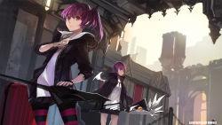 2girls aisha_(elsword) dual_persona elsword highres multiple_girls pantyhose ponytail purple_eyes purple_hair striped striped_legwear swd3e2 weapon wings