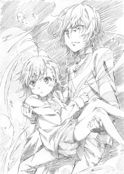 1boy 1girl accelerator ahoge carrying choker delf dress highres last_order monochrome princess_carry short_hair sketch to_aru_majutsu_no_index