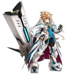 1boy blackjd83 blonde_hair boots chung_(elsword) elsword gauntlets gloves greaves green_eyes long_hair male_focus official_art pants spiked_hair standing surcoat white_background