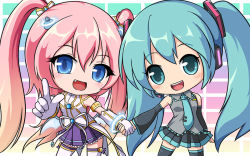 2girls angelic_buster blue_eyes blue_hair bow bowtie crossover detached_sleeves fang hand_holding hatsune_miku horns maplestory multiple_girls nekono_rin open_mouth pink_hair pleated_skirt pointing purple_skirt ribbon skirt smile thighhighs twintails vocaloid