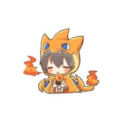 1girl akagi_(kantai_collection) black_hair blue_eyes blush charizard chibi costume crossover eyes_closed fang fire kantai_collection long_hair lowres mega_charizard_y open_mouth pokemon rebecca_(keinelove) sitting tail wings