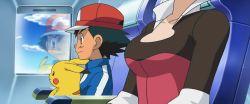 1boy 1girl breasts pansy_(pokemon) pikachu pokemon satoshi_(pokemon) screencap stitched