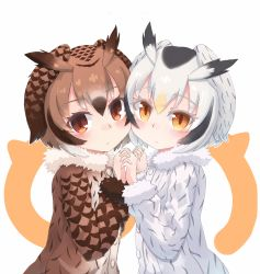 2girls blush brown_eyes brown_hair buttons cheek-to-cheek coat eurasian_eagle_owl_(kemono_friends) eyebrows_visible_through_hair fur_collar fur_trim hair_between_eyes hand_holding head_wings highres interlocked_fingers kemono_friends kibisake long_sleeves looking_at_viewer multicolored_hair multiple_girls northern_white-faced_owl_(kemono_friends) short_hair upper_body white_hair wings