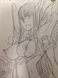 breasts exhibitionism junketsu kill_la_kill kiryuuin_satsuki monochrome nipples shiwasu_no_okina tagme