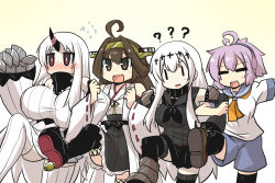4girls ?? ahoge aircraft_carrier_water_oni aoba_(kantai_collection) blush blush_stickers boots breasts brown_eyes brown_hair claws collar comic commentary_request detached_sleeves dress elbow_gloves eyes_closed flying_sweatdrops gloves gomasamune hairband headgear highres horn japanese_clothes kantai_collection kongou_(kantai_collection) large_breasts leg_up lineup locked_arms long_hair long_sleeves multiple_girls neckerchief nichijou nontraditional_miko open_mouth pink_hair pleated_skirt ponytail school_uniform seaport_hime serafuku shinkaisei-kan short_hair short_sleeves shorts sidelocks skirt sleeveless smile sweater sweater_dress thighhighs white_hair wide_sleeves yellow_background