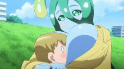 1boy 1girl animated animated_gif breast_press breast_smother breasts cleavage goo_girl green_eyes green_hair head_between_breasts huge_breasts monster_girl monster_musume_no_iru_nichijou slime suu_(monster_musume)