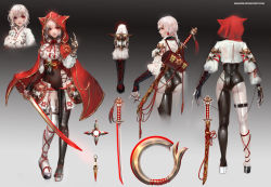absurdres albino ass braid breasts cape chakram character_sheet cowboy_shot from_behind full_body gradient gradient_background highres hood kunai lips looking_back original pale_skin profile red_eyes rope sangrde skin_tight sword thigh_strap underboob vambraces weapon white_hair