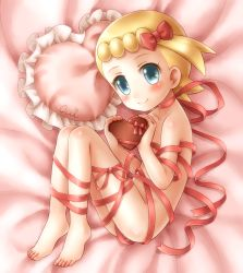 1girl ass barefoot bed blonde_hair blue_eyes blush chocolate eureka_(pokemon) feet flat_chest heart loli looking_at_viewer nude oui pillow pokemon pokemon_(game) porocha red_ribbon ribbon short_hair smile solo thighs toes uncensored valentine