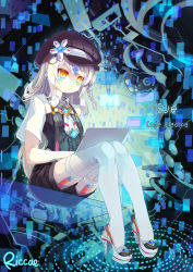1girl artist_name braid computer elsword eve_(elsword) expressionless garter_straps hat long_hair riccae sitting solo tattoo thighhighs white_hair yellow_eyes