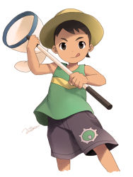 1boy brown_eyes brown_hair bug_catcher_(pokemon) butterfly_net cowboy_shot hand_net hat looking_at_viewer male noeyebrow_(mauve) pokemon pokemon_(game) pokemon_oras short_hair shorts simple_background solo tank_top tongue tongue_out white_background