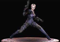 3d animated animated_gif artist_request blonde_hair gun high_heels holding_gun jill_valentine leather_suit resident_evil resident_evil_5 rifle turnaround weapon zipper
