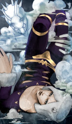 1boy cloud collarbone grey_eyes grey_hair horns jojo_no_kimyou_na_bouken looking_at_viewer male_focus rain stand_(jojo) upside-down weather_report weather_report_(stand) ygg