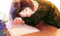 1boy bob_cut book eyes_closed fate/zero fate_(series) head_on_table highres male_focus rouru_chiha sleeping smile waver_velvet