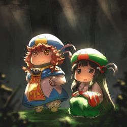 2girls :o aaaa bangs black_eyes black_hair blue_hat blunt_bangs braid capelet frilled_skirt frills green_hat green_skirt hair_between_eyes hakumei_(hakumei_to_mikochi) hakumei_to_mikochi hands_on_hips hat hat_ribbon highres light_rays lighting long_hair long_skirt looking_at_viewer mikochi_(hakumei_to_mikochi) multiple_girls open_mouth orange_hair red_ribbon ribbon skirt smile squatting sunbeam sunlight tabard thick_eyebrows twin_braids very_long_hair white_ribbon white_robe wide_sleeves yellow_eyes