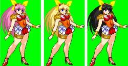 alternate_color black_hair blonde_hair hanasaki_momoko jyb long_hair m.u.g.e.n pink_hair ribbon very_long_hair wedding_peach