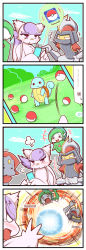 4koma bisharp comic commentary gallade highres mienshao pokemon pokemon_go sougetsu_(yosinoya35) squirtle