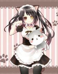 1girl apron bell cat_ears clock_eyes coller date_a_live maid_headdress maid_uniform striped_background stuffed_toy tokisaki_kurumi twintails
