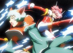 angelic_layer blue_hair highres hikaru_(angelic_layer) mao_(angelic_layer) pink_hair red_eyes