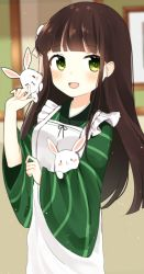 1girl ama_usa_an_uniform animal apron bangs blunt_bangs blush brown_hair bunny cowboy_shot eyebrows_visible_through_hair flower frame gochuumon_wa_usagi_desu_ka? green_eyes hair_flower hair_ornament holding_animal indoors japanese_clothes kurutsu long_hair long_sleeves looking_at_viewer open_mouth smile solo ujimatsu_chiya wall