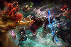 armor ashe_(league_of_legends) baron_nashor bow_(weapon) breasts cleavage epic extra_eyes fighting highres katarina_du_couteau league_of_legends leona_(league_of_legends) monster solid_eyes sword tagme teemo weapon yasuo_(league_of_legends) yordle