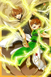 2boys akizuki_buranko brown_eyes brown_hair card_captor_sakura chinese_clothes creator_connection crossover electricity li_xiaolang male multiple_boys short_hair sword tsubasa_chronicle weapon xiaolang yin_yang
