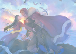 2boys beard bird black_hair facial_hair fate/zero fate_(series) incipient_hug long_hair lord_el-melloi_ii multiple_boys older red_eyes red_hair rider_(fate/zero) sea seagull sun time_paradox vesperster waver_velvet