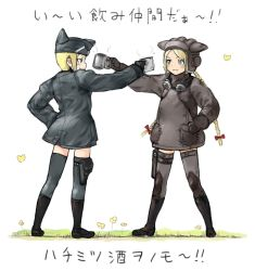 2girls animal_hat black_gloves blonde_hair blue_eyes blue_legwear blush bow brown_gloves brown_legwear coh cup flower gloves goggles goggles_around_neck grass hair_bow hand_on_hip hat long_hair long_sleeves looking_at_another mars_expedition military military_uniform multiple_girls short_hair simple_background smile thighhighs translation_request uniform very_long_hair white_background zettai_ryouiki