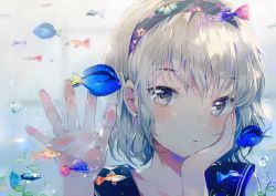 1girl against_glass blush dangmill face fish fish_tank glass hairband hand_on_own_cheek hands indoors original school_uniform serafuku short_hair silver_eyes silver_hair solo upper_body water