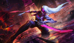 1girl cyborg dual_wielding explosion jacket katarina_du_couteau kneeling knife league_of_legends lipstick long_hair makeup mechanical_arm official_art project:_katarina short_sword silver_hair solo sword visor_(armor) weapon