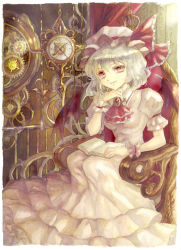 1girl arm_garter arm_rest ascot backlighting bat_wings birdcage book brooch cage chair chin_rest clock curtains dress frilled_dress frills gears hand_on_own_chin hat hat_ribbon highres jewelry keiko_(mitakarawa) light long_dress looking_at_viewer mob_cap open_book pink_dress railing red_eyes remilia_scarlet ribbon roman_numerals silver_hair sitting small_breasts smile smirk touhou wings wrist_cuffs