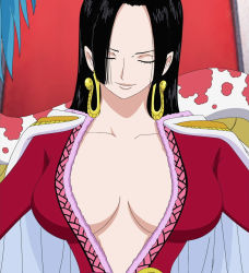 1girl amazon amazon_lily black_hair boa_hancock breasts earrings eyes_closed female gradient_background one_piece screencap solo stitched upper_body