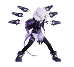 1boy add_(elsword) black_gloves black_shoes clenched_teeth elsword gloves grin hair_over_one_eye hwansang jacket male_focus messy_hair official_art pants purple_eyes shoes smile solo standing white_background white_hair