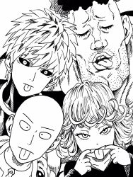 1girl 3boys artist_request bald black_sclera chin cleft_chin earrings eyebrows eyelashes eyes_closed facial_hair genos highres ink_(medium) jewelry lee_(dragon_garou) monochrome mouth_pull multiple_boys official_style one-punch_man open_mouth puri_puri_prisoner saitama_(one-punch_man) stubble stud_earrings tatsumaki tongue tongue_out traditional_media