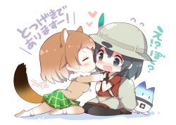 2girls animal_ears backpack bag black-tailed_prairie_dog_(kemono_friends) black_gloves black_hair black_legwear blush bucket_hat cheek_kiss eyes_closed fur_collar gloves hair_between_eyes hat hat_feather kaban kemono_friends kiss lucky_beast_(kemono_friends) multicolored_hair multiple_girls open_mouth pantyhose prairie_dog_ears red_shirt shirt short_hair shorts tail translation_request watanohara white_background